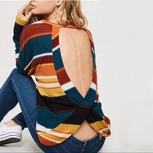 Sweaters - NEW! Colorblock Striped Loose Knit Sweater Top